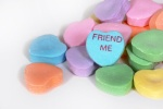 "Valentine candy hearts with ""Friend Me"" saying"